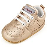 DELEBAO Babyschuhe Krabbelschuhe Turnschuhe Lauflernschuhe Weiche Sohle Baby Schuhe Lederschuhe Erste Kinderschuhe Kleinkind für Mädchen Jungen (Gold,9-12 Monate)