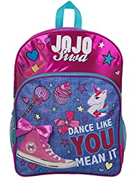 JoJo Siwa Bow Backpack Ruck Sack bolso de hombro Denim Large Pocket Print Pack Unicorn Bow y brillo Detalles Perfect School, Holiday o…