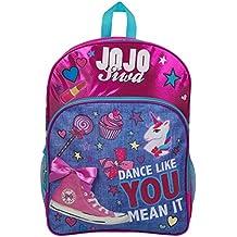 JoJo Siwa Bow Backpack Ruck Sack bolso de hombro Denim Large Pocket Print Pack Unicorn Bow