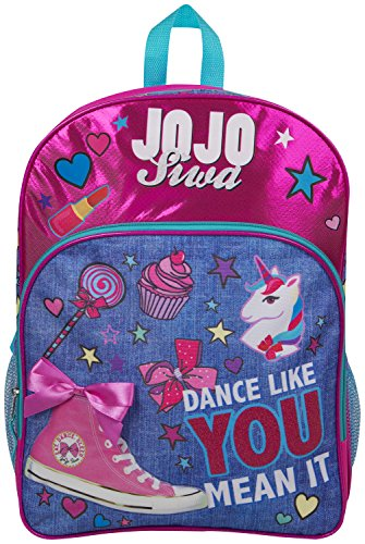 JoJo Siwa Bow Backpack Ruck Sack bolso de hombro Denim Large Pocket Print Pack Unicorn Bow y brillo Detalles Perfect School, Holiday o Dance Bag