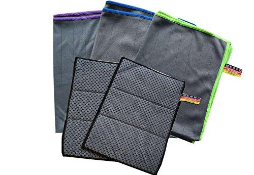 Carbon-faser-tuch (Premium Carbon Mikrofaser Set -Autotuch Fenstertuch Scheibentuch- zur professionellen Reinigung für Fussel- und streifenfreie Scheiben, Windschutzscheiben & Fenster dank unfassbar starker Carbon Faser-Struktur (5er Set))