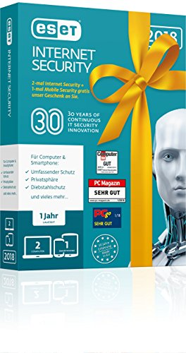 ESET Birthday Edition |2x Internet Security & 1x Mobile Security | Insgesamt 3 Geräte | 1 Jahr Virenschutz | Für Windows (10, 8, 7 und Vista) und Android | Download Kommunikation Handy