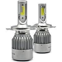 2pcs H4 LED Faro Bombillas , Zloer H4 LED Bombillas para Faros Delanteros Kit de Conversion Impermeable IP65, 7600LM Auto Kit de faros de coche de conducción bombillas lámparas 6000K H4