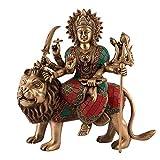 aapno Craft 27,9cm Hindu Göttin Durga Statue Messing handgefertigt Durga Idols/Murti sitzend auf Löwe Gottheit Maa Kali Devi Figur
