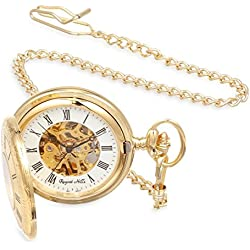 Regent Hills Silver-Plated Mechanical Pocket Watch 6677GP-W2