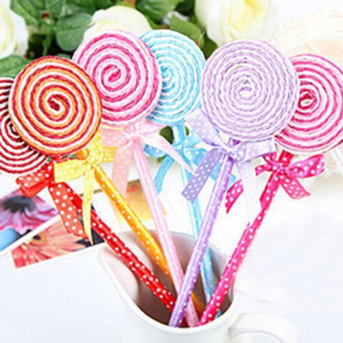 Preisvergleich Produktbild Lollipop Kugelschreiber Kurios Kinder Spielzeug Süße Schule Briefpapier Gife (Packung mit 5: zufällige Farbe)