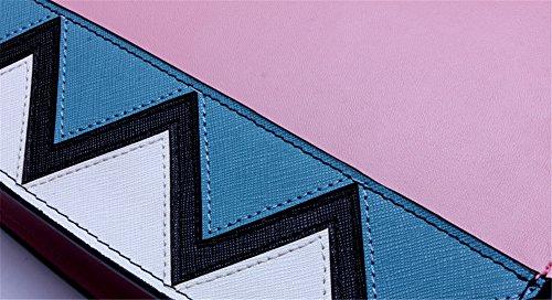 Xinmaoyuan Rosa Borse donna Spell-Color femmina geometrica Borsa diagonale ondulata con piccola borsa Picquan Tracolla blocco quadrato piccolo sacchetto di Zipper,Nero rosa