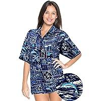 La Leela tropicale stampato likre blu spiaggia nuotare camicia hawaiana