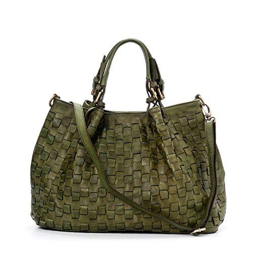 Ira del Valle, Damenhandtasche aus geflochtenem Vintage-Leder, Made in Italy, Modell Caraibica Tasche, große Handtasche und Schulter mit Schultertasche für Mädchen, Grün Farbe - Leder Gefütterte Schulter-tasche