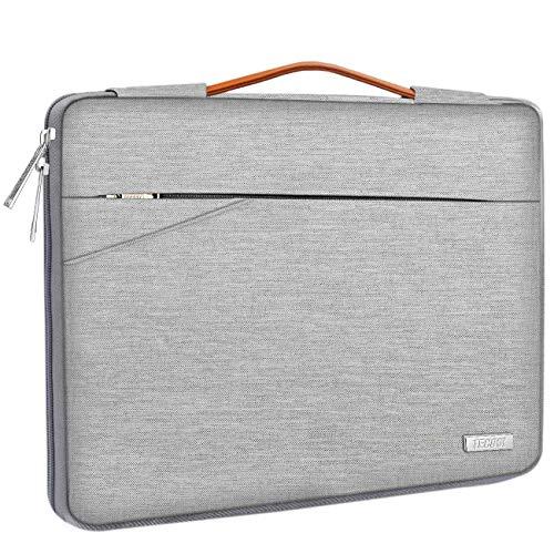 TECOOL Housse pour Ordinateur Portable, Serviette de Protection Sacoche avec poignée pour 14 Pouces PC Netbook Chromebook Huawei Lenovo Thinkpad Dell HP Acer ASUS, Gris