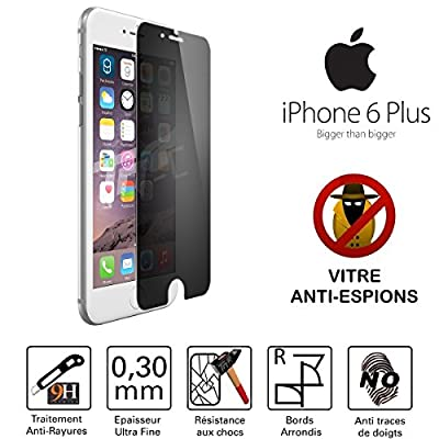 TM-Concept® Vitre de protection teintée Anti-Espions - Apple Iphone 6 Plus / Iphone 6S Plus - Verre Trempé HQ ultra résistant (contre la casse & les rayures) - Ultra Slim (0,30mm) avec bords arrondis - Protection et un confort d'utilisation optimal