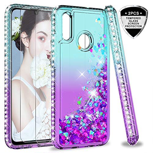 LeYi Hülle Huawei P Smart 2019 Glitzer Handyhülle mit Panzerglas Schutzfolie(2 Stück), Diamond Cover Bumper Schutzhülle für Case Huawei P Smart 2019 / Honor 10 Lite Handy Hüllen ZX Turquoise Purple -