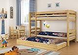 Erst-Holz® Kinderzimmer Etagenbett Kiefer 90x200 Bett Stockbett Rollroste Gästebettkasten 60.10-09 M S7M