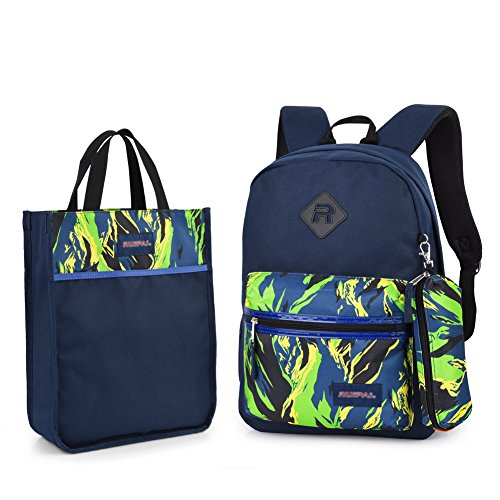 Imagen de vbiger  escuela para niños y niñas 3 in 1 con cartuchera y bolso de mano verde