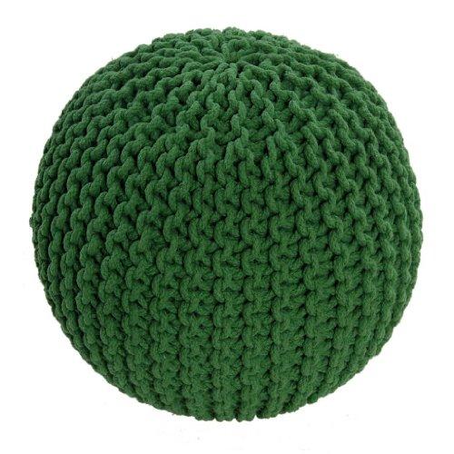 Homescapes Pouf Tricoté Vert 100% Coton Repose-pied Rembourré des Billes le Salon, la Chambre des Enfants les Personnes Âgées.