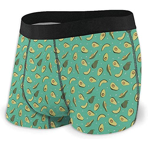 NA Unterwäsche Herren Boxer Brief Unterhose Green Avocado Repeat Pattern Herren Boxer Briefs Saugfähige Unterwäsche mit elastischem Bund Größe XL