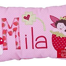Geschenk Taufe M/ädchen Kissen mit Wunschnamen Babykissen Geschenk Arche Noah Taufgeschenk Geburtsgeschenk Geschenk Blumen crepes suzette Namenskissen