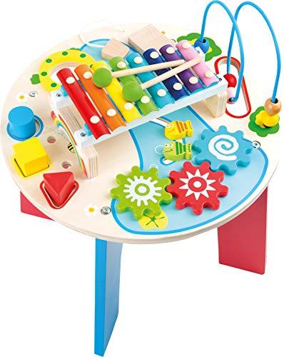 10321 Tavolo musicale e motorio '2 in 1' small foot in legno, con anello motore, gioco con formine, xilofono, a partire da 1,5 anni
