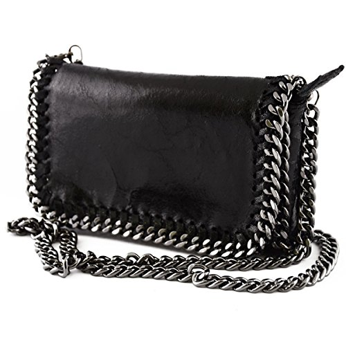 Borsa Donna A Tracolla In Vera Pelle Colore Nero - Pelletteria Toscana Made In Italy - Borsa Donna