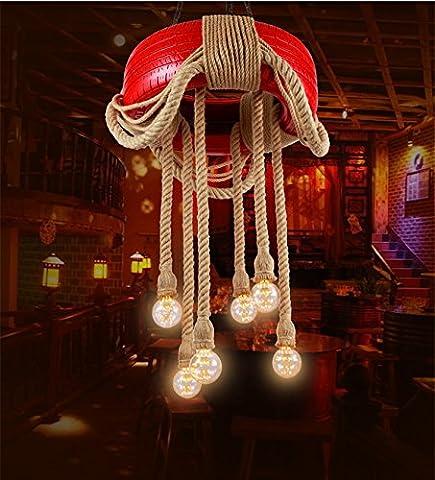 Koalala Personnalité Créatrice Américaine De L'Industrie Du Pneu Lampes Sisal Restaurant Vent Light Bar Café Rétro Avec Des Lustres, Grand 60Cm Rouge