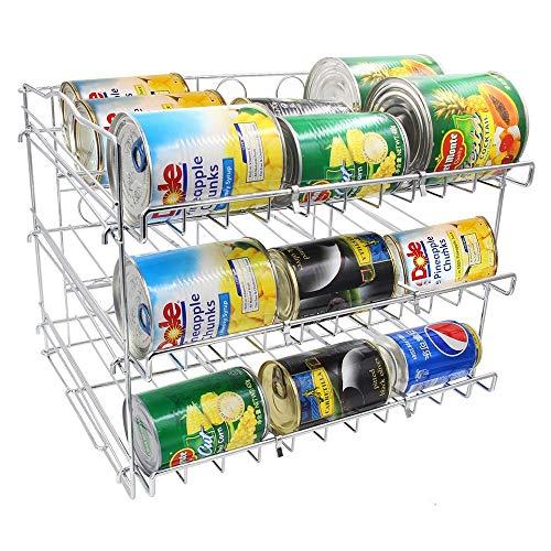YUSDP 2 STÜCKE Stapelbares Dosenregal, 3-stufiger Organizer, Metalldrahtständiges Spender-Aufbewahrungsregal - Hohe Kapazität für 36 Dosen, für Küchenschrank-Arbeitsplatte -