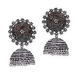 #1: Jaipur Mart Oxidised Silver Plated Handmade Jhumki Earrings For Women