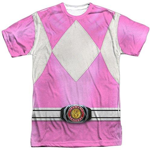 Ranger Power Shirt Kostüm T - Power Rangers Kinder Live Action TV-Serie rosa Kostüm für Erwachsene - Weiß - Mittel