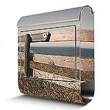 BANJADO Edelstahl Briefkasten mit Zeitungsfach, Design Motivbriefkasten, Briefkasten 38x43,5x12,5cm groß Motiv Zaun am Meer inkl. schwarzem Standfuß