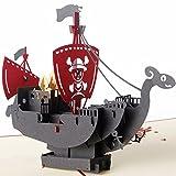 JAGETRADE Cadeau Fête des Mères, Fête des Pères 3D Pop Up Carte Pirate Ship Journée des Enfants Anniversaire Merci Noël Voeux