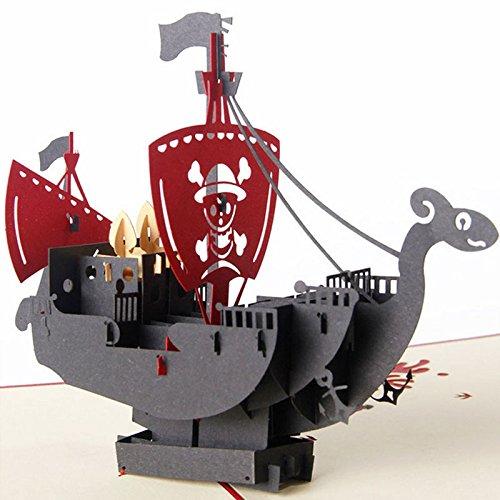 Hergon Pop-Up Karte,20 * 15CM-pirate ship 3 D Hochzeitskarte, Liebe, Hochzeit Einladung, Verlobungskarte, Valentinstag, Liebespaar auf Schaukel, Geburtstagskarte