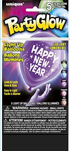 254-cm-Latex-Happy-New-Year-LED-leuchtende-Luftballons-gemischt-5-Stck-pro-Packung