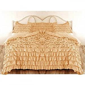 400 TC Ruffle Duvet Cover + 2 Pillow covers Solid Gold UK King Size 100% Cotton