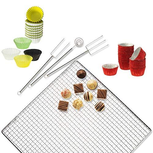 Kaiser Pâtisserie Pralinen und Konfektset, 4-teilig, mit 20 Alu und 200 Papier-Pralinenförmchen, Tauchgabel, Tauchspirale, Abkühlgitter, Rezeptheft