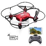 ATOYX AT-96 WiFi FPV Drone,Cámara HD Ajustable Función de Suspensión de Altitud Modo sin Cabeza ,Un Botón de Aterrizaje y Despegue Flips 3D RC Dron Quadcopter para Niños y Principiantes - Rojo