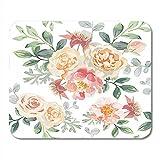 Schreibtischunterlage,Aquarell Blumen Rosa Rosen Und Pfingstrosen Graue Blätter Romantische Gartenblumen Zarte Farben Erröten Mauspad, 18X22Cm
