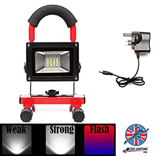 Autofather 30W LED Work Light Portable Light-weight Super Bright Floodlight with 3 Lighting Models, Rechargeable Waterproof Security Emergency Hand Lamp (Red)