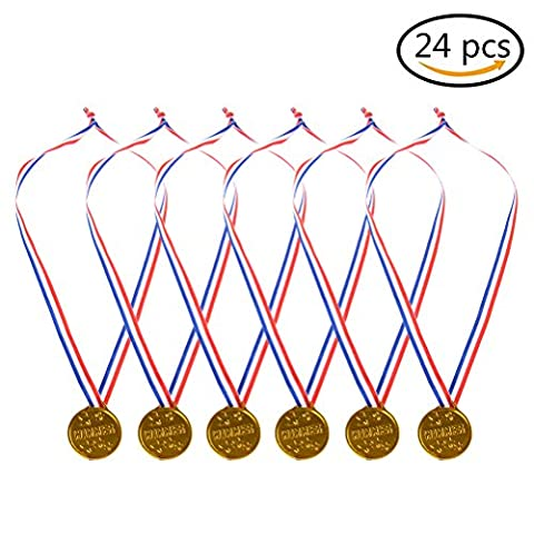 Plastic Gold Medals 24 Pack, BESTIM INCUK Kids Gold Winner Award Medals with Ribbon for Party Game