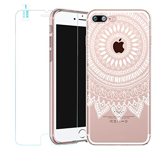 Cover iPhone SE/5/5s [Pellicola Protettiva in Vetro Temperato], Bestsky Custodia iPhone 6/6s Trasparente Silicone Tribal Henna Mandala Antiurto Protettiva Shell Case per Apple iPhone SE/5/5s (4.0 poll #08