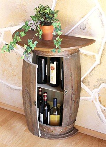 DanDiBo Wandtisch Tisch Weinregal Weinfass 0373-R Braun Schrank Fass aus Holz 73 cm Beistelltisch...