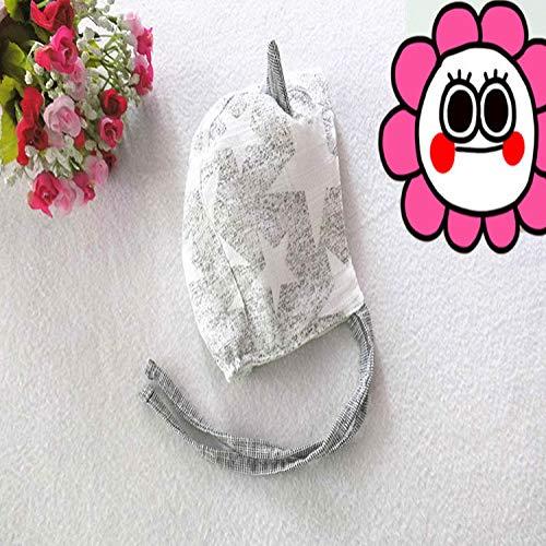 mlpnko Neu Kinder Hut Baby Mütze mit Ohrenschützer Baumwolle und Leinen Baby Mütze grau weiß Sterne 3-12 Monate -