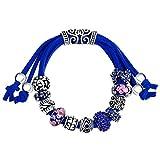 MANBARA rosa y azul marino de perlas de vidrio de búhopulsera encanto de la cadena de cuerda ajustable 500FC (azul profundo)
