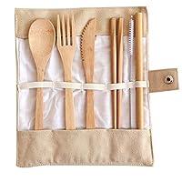 مجموعة أدوات المائدة المصنوعة من الخيزران - أدوات المطبخ، ملعقة شوكة فضية خشبية للسفر قابلة لإعادة الاستخدام - أدوات صديقة للبيئة، أدوات عضوية طبيعية - للتخييم، محمول، 6 قطع ملعقة خيزران للسفر، شوكة