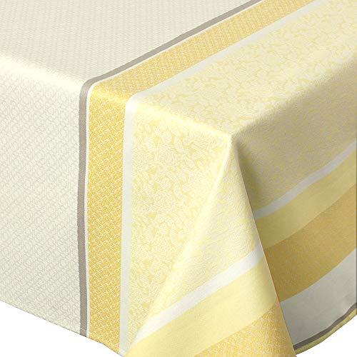 Nappe rectangle 150x200 cm Jacquard 100% coton + enduction acrylique EDEN SOLEIL Jaune