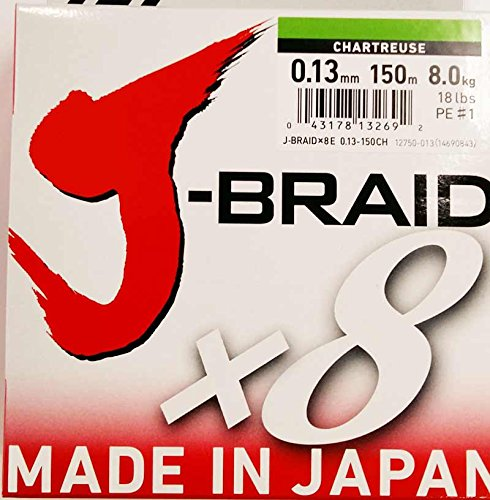 Daiwa - Jbraid 8 Braid 150, Color Verde, Talla 0.130 mm