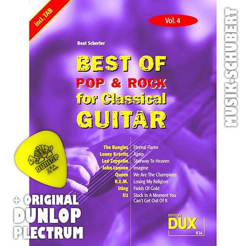 Best of Rock & Pop for Classical Guitar VOL. 4avec mdiator8tubes de LED ZEPPELIN, Queen, R.E.M. u.a. arrangs pour guitare de concert en tant que Solo Douille (Notes/Tablature) et avec mesures eitak korden pour mitsingen (broschiert) de Beat scherler (Notes/sheetm usic)