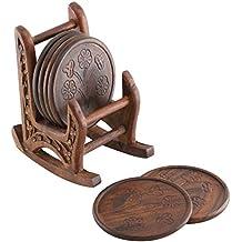 Sottobicchiere legno - Set di 4 sottobicchieri in legno, fatto a mano, decorato con sedia a dondolo con support centro tavola