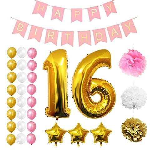 16. Geburtstag Luftballons Happy Birthday Banner Party Zubehör Set & Dekorationen von Belle Vous ? Große Folienballons für den 16. Geburtstag ? Gold, Weiß & Pink Latex-Ballon-Dekoration - Dekor für alle Jugendlichen geeignet