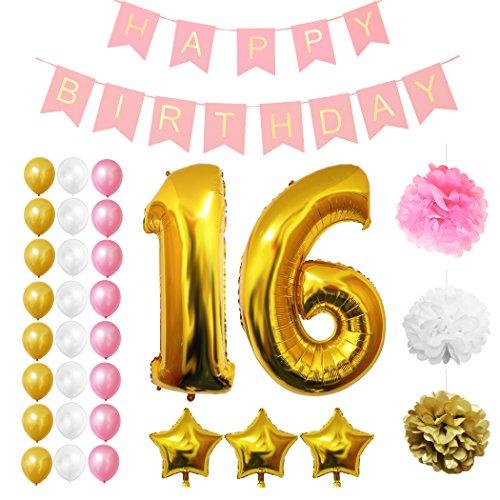Luftballons u. Dekoration zum 16. Geburtstag von Belle Vous - 32-tlg. Set - Großer 16 Jahre Luftballon - 30,5cm Gold, Weiße u. Rosa Latexballon-Dekoration - Dekor für Jugendliche (Geburtstag-mädchen-mädchen Zubehör)