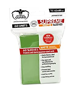 Ultimate Guard Supreme Sleeves Fundas de Cartas Tamaño Japonés Verde Mate (60)