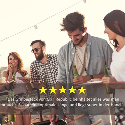 51rDH2I0SXL - Grill Republic Premium Grillbesteck-Set (3-teilig) Durchdachtes BBQ Grill-Zubehör (Extra Lang) aus Edelstahl mit Hochwertiger Tragetasche | Große Grill-Zange, Grill-Gabel und Grill-Wender